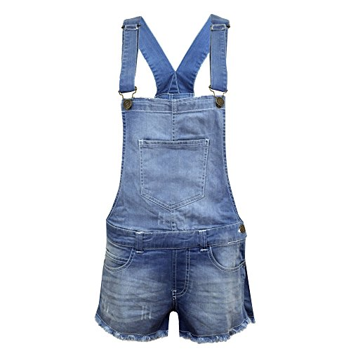 NEW KIDS GIRLS DENIM STRETCH LIGHT WASH PLAYSUIT JUMPSUIT DUNGAREE SHORTS AGE 7-13 (AGE 7-8)