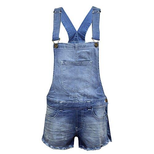 Salopette con pantaloncini in denim elasticizzato, per bambine, effetto Light Wash, età 7–13. blu Denim Blue