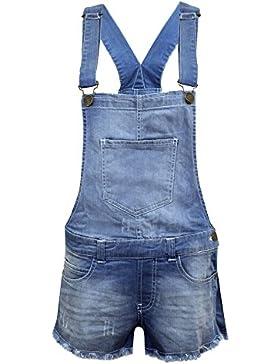 Salopette con pantaloncini in denim elasticizzato, per bambine, effetto Light Wash, età 7–13.