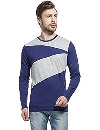 LEWEL Men's Stylish Cotton T-Shirt Round Neck Full Sleeve Navy Blue, Grey Melange T-Shirt