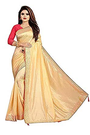 Market Magic World Women's Sana Silk Stone Studded Saree with Contrast Blouse