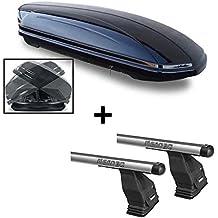 Box da Tetto vdpmaa460Duo su entrambi i lati apribile con chiave 460LTR + Portapacchi Menabo Tema per Mahindra XUV 500(SUV 5porte) dal 2013in alluminio