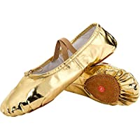 JOINFREE Ballet Canvas Dance Shoes for Girls Womens Gymnastic Yoga Shoes Flat Split Vamp Leather Sole