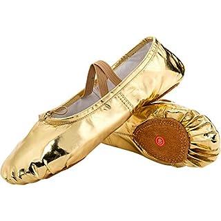 JOINFREE Mädchen Ballett Schuhe Frauen Tanzschuhe Flache Tanzschuhe Slipper Leinwand Vamp Leder Sohle 37 EU