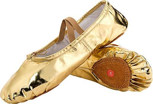 L-RUN Mädchen Damen Kinder Leinwand Tanzschuh Satin Ballett Pointe Schuhe Gold, 11 UK Kleines Kind (Kleinkind Schuhe Elf)