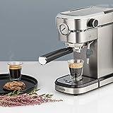 H.Koenig EXP820 Espressomaschine 15 bar EXP820-Edelstahl-Thermosystem-1,1l-Tassenwärmer-Dampfdüse-Abnehmbarer Wassertank, Stainless Steel