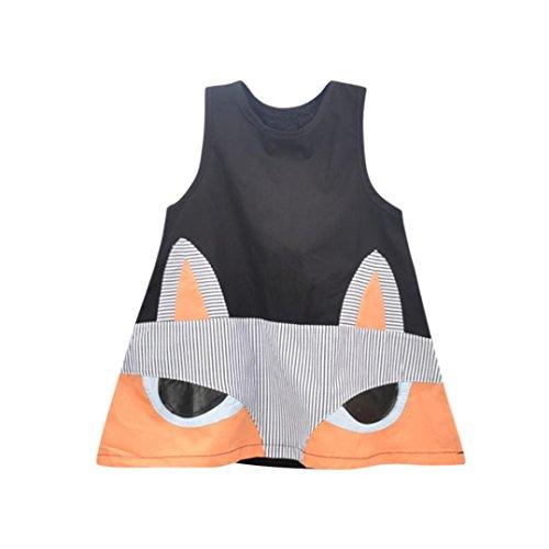 �dchen Kleid, janly® Kleinkind Kid Cartoon Fox Prinzessin Kleider Ärmellos A Line Sundress, schwarz (4 Monat Alte Halloween-kostüm Ideen)