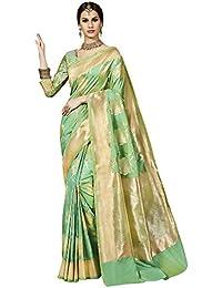 Saree Mall Banarasi Silk Saree With Blouse ( Light Green & Gold_sarees Latest Design TLELA103 )