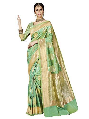 Saree Mall Women's Banarasi Silk Saree With Blouse Piece (Latest Design Tlela103_Green)
