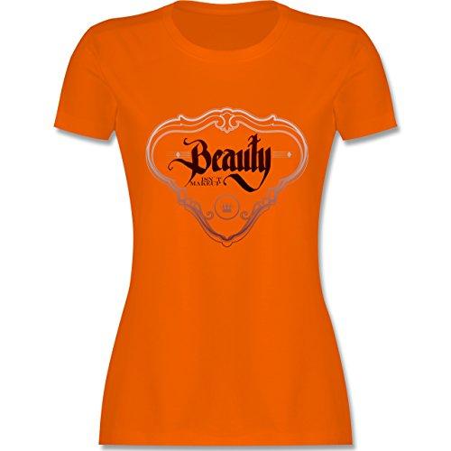 Statement Shirts Beauty isn´t Makeup tailliertes Premium TShirt mit  Rundhalsausschnitt für Damen Orange