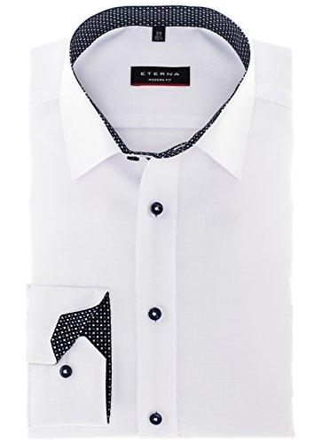 Eterna - Modern Fit - Herren Langarm Hemd mit Kent Kragen in Weiß oder Blau, Bügelfrei (8464 X35P) Weiß (00)