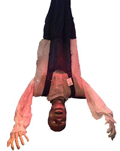 Preis am Stiel Halloween ''Zombie'' erhängt, Kopf nach unten mit Sound, Bewegung & Bewegungsensor | Horror | Schocker | Halloweendeko