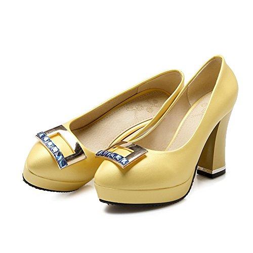 AgooLar Damen Weiches Material Rund Zehe Hoher Absatz Ziehen Auf Eingelegt Pumps Schuhe Gelb