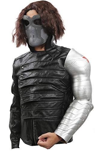 Mesky Buckys Arm Cosplay Requisit Winter Soldier Film Kostüm Zubehör aus PVC Silber One Size Leicht Stabil 2 Teile Handwerk für Erwachsene