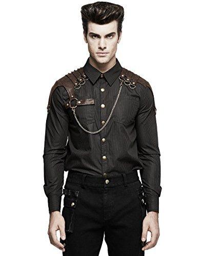 Punk Rave Herren Steampunk Militär Hemd Braun Nadelstreifen Kupfer Kunstleder - Schwarz, Large (Herren-nadelstreifen-hemd)