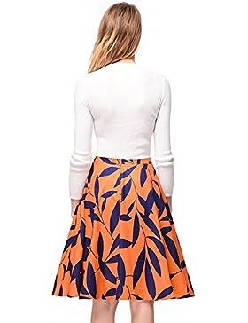 SJMMQZ Volver cremallera Impreso vestido de falda de cintura alta media