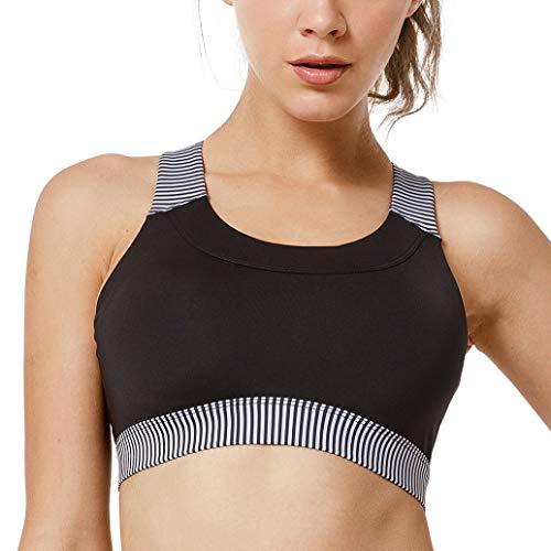 Yvette Damen Sport BH Starker Halt Große Größe Ohne Bügel Gekreuzt Rücken Bustier Für Streifen Lauf Yoga, Streifen -