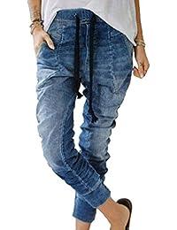 a250785e63 Hibote Moda Mujer Casual Harem Jeans Mid Rise Estiramiento Slim Fit Fitness  Lápiz Denim Mujer Cintura
