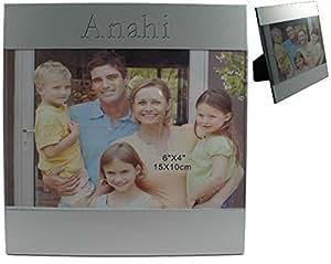 Kundenspezifischer gravierter Fotorahmen aus Aluminium mit Namen: Anahi (Vorname/Zuname/Spitzname)