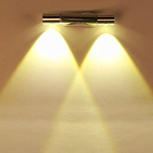 Finether 6W LED Wandleuchte Wandlampe Wandfluter Flurlampemit 2 Leuchten 360°Drehbar Up Down aus Aluminium für Innen Schlafzimmer Wohnzimmer Treppenhaus Flur Wand | Modern Design Lampe Wandbeleuchtung Wandlicht Wandstrahler Effektlampeindirektes Licht warmweiß