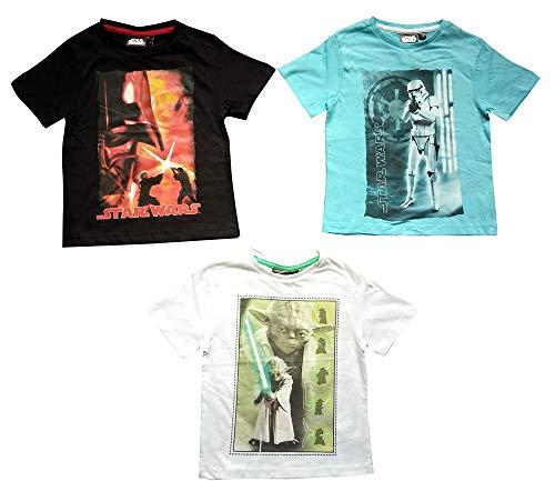 Star Wars Film Fanshirt, Oberteil, T-Shirt für Kinder, Jungen, aus 100% Baumwolle, 3er Set Shirts, Farben Weiß, Schwarz und Blau, Jedi-Ritter, Yoda, Range Trooper, Gr. 104, 116, 128 oder 140 (140)