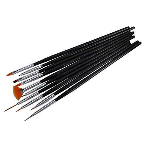 Generic 10Pcs Nail Art Painting Pen Brush Set With Black Handle