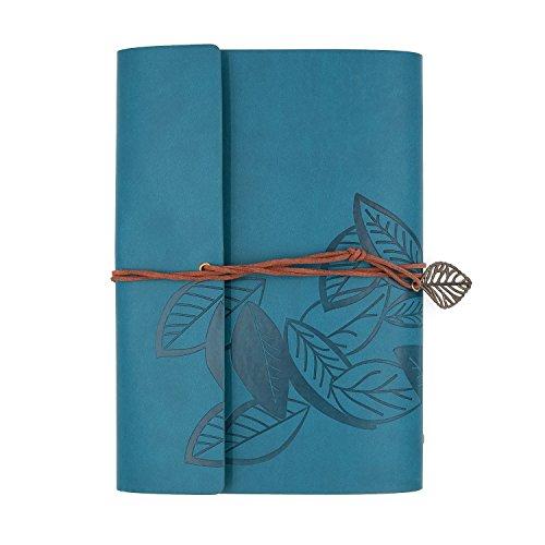 Jia HU Retro Leaf Leder Binder Ringe Taschen blanko nachfüllbar Tagebuch Tagebuch Notizbuch Portfolio Organizer 150Seiten seeblau (Klare Portfolio Seite)