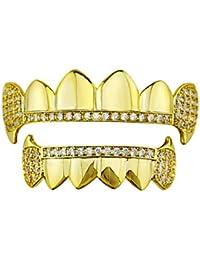 Juego de Dientes - Chapado en Oro Cruz Diamonds Grillz - Excelente Corte para Todos los Tipos de Dientes - Juego de Parrillas Superior e Inferior - Hip Hop Bling Grillz (Color : Oro)
