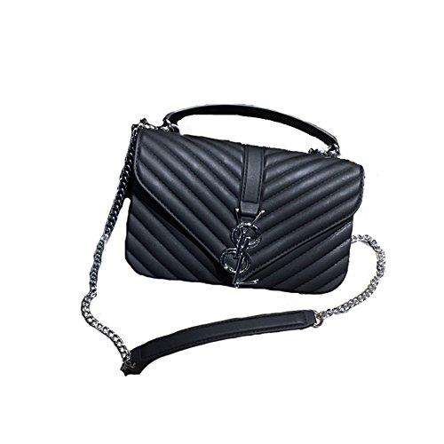 2018 Mode Damen Matte Frosted Jelly Bag Kette Tasche Schulter Messenger Bag Handtasche Mini Bag(Schwarz-M) (Jelly-geldbörse)