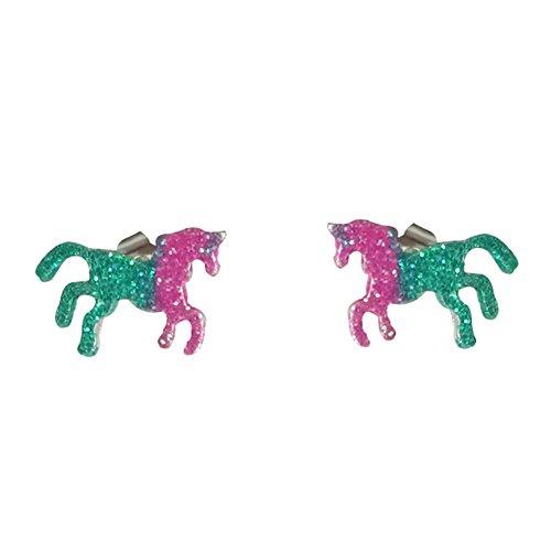 Qinlee Damen Ohrringe Kreative Pferd Stil Ohrstecker Glanz Bunt schimmerndes Ohrringe Mode Valentinstag Geschenk Elegant Schmuck Ohr Zubehör (Pferd-ohr-stecker)