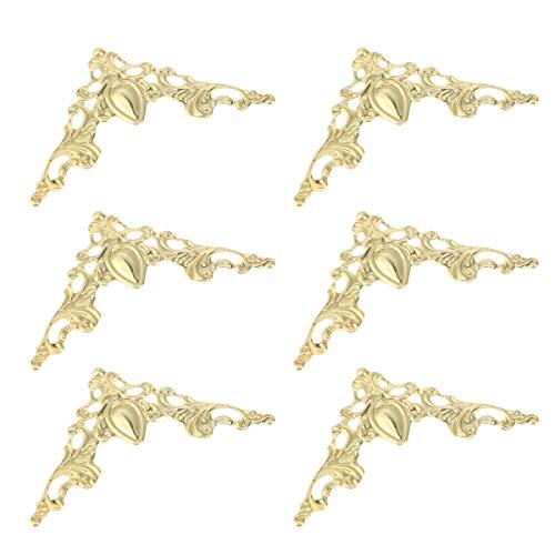 VORCOOL 24 Stück Antike Kantenabdeckung Kantenschutz Metall Eckenschutz Eisen Kasten Buch Album Vintage Ecken Dekoration (Gold) (Gold-koffer Vintage)