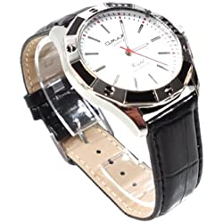 Omax Men's Wrist Watch Leather Strap in Snake Leather Look IP 03