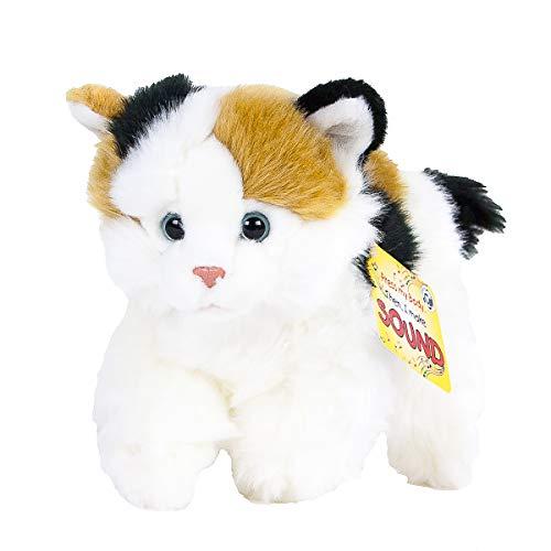 Teddys Rothenburg Kuscheltier Katze mit Stimme 30 cm (mit Schwanz) liegend weiß/braun/schwarz Plüschkatze
