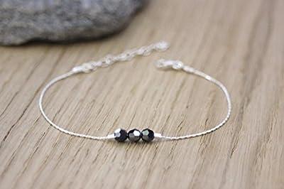 Bracelet en argent massif 3 perles noires en cristal Swarovski