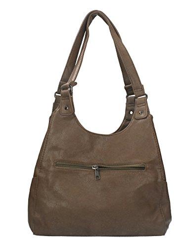 Borsa da donna in similpelle con chiusura a zip, bottoni automatici e due manici di New Bags taupe scuro