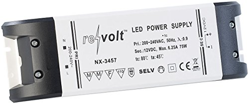 revolt Trafos: LED-Trafo, 230 V Input, 12 V Output, bis 75 W (Sicherheits-Transformator) Elektronischer Trafo 12v 75w