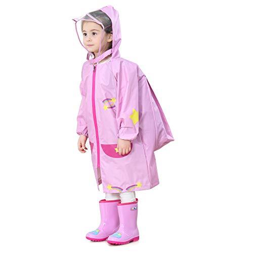 Bwiv Poncho Pluie Enfant à Capuche avec Position de Sac à Dos Imperméable Fille Cape Pluie Garçon Léger 2-10ans Vêtements de Pluie Ros(Lune) 4-6ans / Marque:M