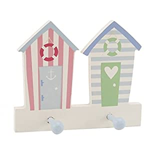 alltoshop Strandhütte Kleiderhaken mit 2 Haken - Strandhäuschen Garderobenhaken Huthaken Holz Wandhaken mit 2 Haken