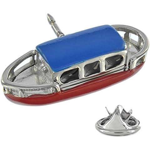 Hand Coloured Narrowboat Pin Badge in metallo