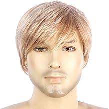 Corto Rubio Straight Cap pelucas para hombres 100% Kanekalon Handsome Style Guys y Boys peluca
