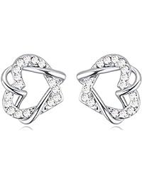 NEVI Heart Swarovski Crystals Rhodium Plated Stud Earrings Jewellery for Women And Girls