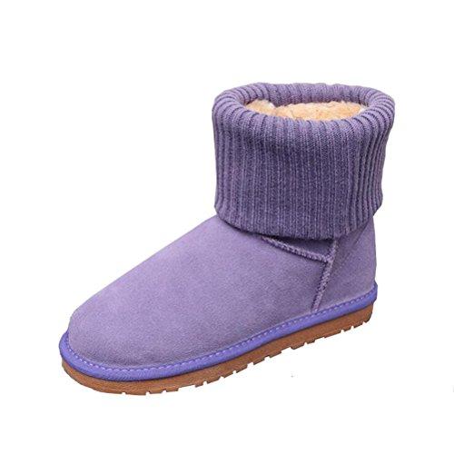 Vogstyle Femme Bottes de Neige Bi-matiere Pure Couleur Vintage en Hiver Violet