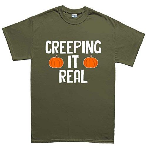 Mens Creeping It Real Halloween T Shirt (Tee) M Military Green