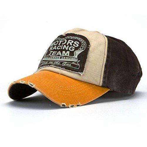 Susenstone Unisex Baseballmütze Baumwolle Motorrad Cap Kantenschleifen Do Old Hat (Gelb)