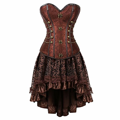 Bustino Steampunk Donna in Pizzo con Gonna Corsetto Pelle Burlesque Sexy Gothic Costumi Marrone 6XL