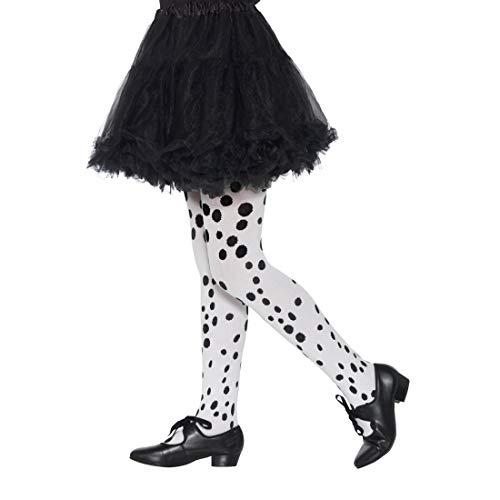 NET TOYS Kinder-Strumpfhose mit Punkten | Weiß-Schwarz | Vielseitiges Kinder-Accessoire Dalmatiner | Perfekt geeignet für Kinder-Fasching & Kostümfest