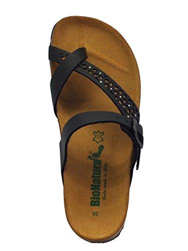 Sandalo Bionatura in pelle laserata nera zeppa bassa Nero