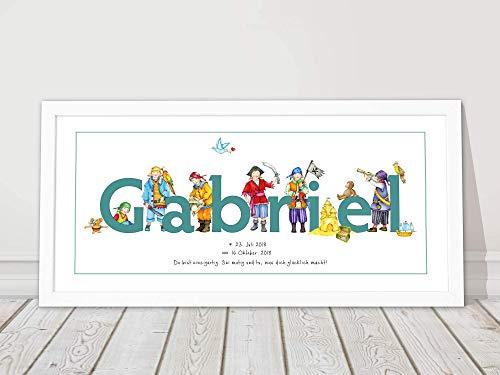 Babygeschenk, gerahmtes Bild personalisiert mit Namen, Kinderzimmerbild zur Geburt, Taufe, 1. Geburtstag Junge