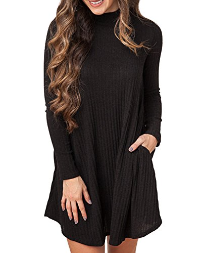 Cnfio Jumper Dress, Women High Neck Ribbed Long Sleeve Casual Jumper Pocket Knitted Slim Swing Stretch Plain A Line Mini Dress Pullover Sweater T-Shirt Tops Knitwear