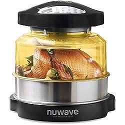 NuWave 20606 | Four à convection par chaleur tournante et à infrarouge ; Friture à air chaud, gâteaux, grillades, barbecue, gril, cuisson vapeur, rôtis et déshydratation, Noir